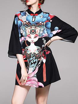 National Style Figure Pattern a Line Dress