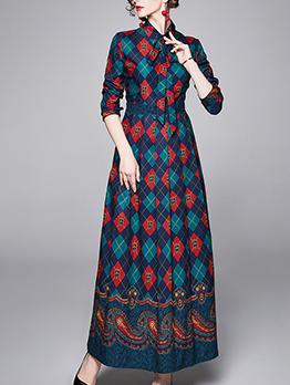 Graphic Contrast Color Print Maxi Dress