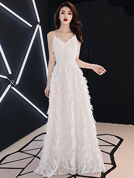 High End V Neck Fitted Large Hem Long Evening Dress