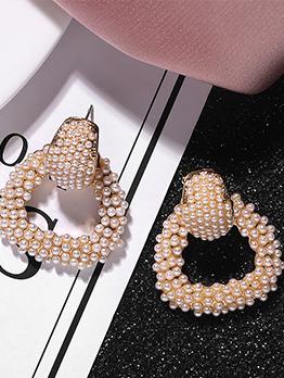 Simple Design Trapezoid Pearl Earrings