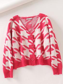 Houndstooth Knitting Single Breasted Short Coat