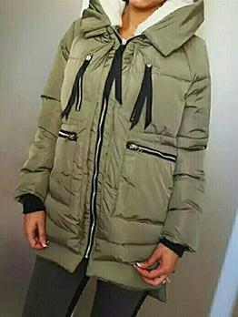 Multiple Zipper Pockets Solid Hooded Ladies Coats