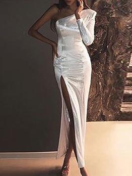 Inclined Shoulder High Split Hem White Evening Dress