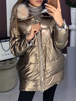 Winter Glossy Hairy Hooded Women Long Coat