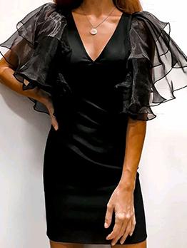 Gauze Patchwork Ruffled Black One Piece Dress