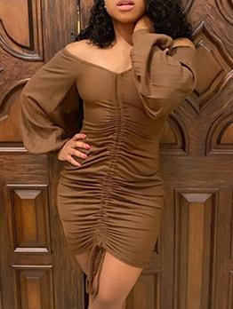 Drawstring Solid Long Sleeve Bodycon Dress