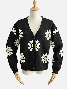 Flower Printed V Neck Knit Coat