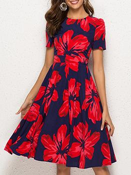 Contrast Color Printed Short Sleeve Summer Dresses