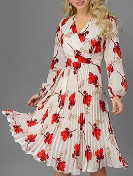 V Neck Flower Printed Pleated Long Sleeve Dress
