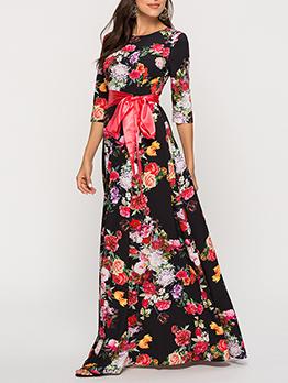 Bohemian Lace Up Floral Maxi Dress