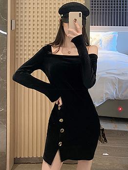 Square Neck Split Hem Black Velvet Dress