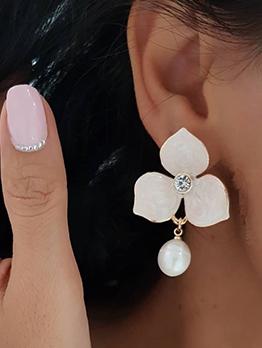 Elegant Rhinestone Flower Faux Pearl Earrings