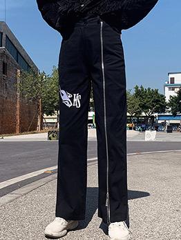 Casual Printing Zipper Design Straight Black Pants