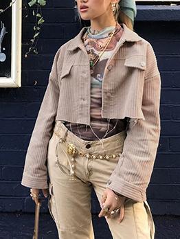 Single Breasted Turndown Neck Khaki Short Coat