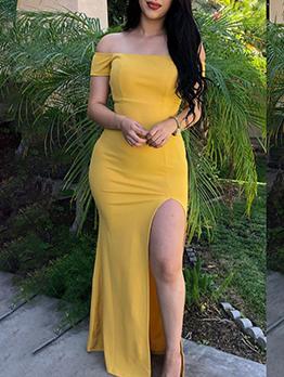 Slit Solid Off The Shoulder Maxi Dress