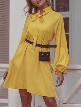 Tie Neck Long Sleeve Yellow Dress