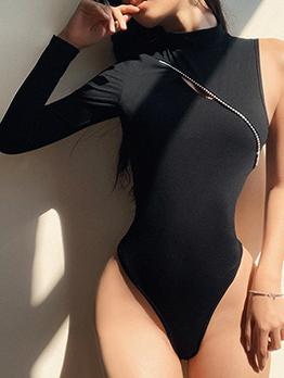 Simple Design O Neck Black One Shoulder Bodysuit
