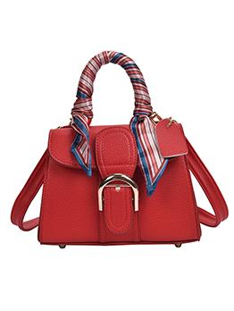 Silk Scarf Handle Wide Belt Square Crossbody Handbags