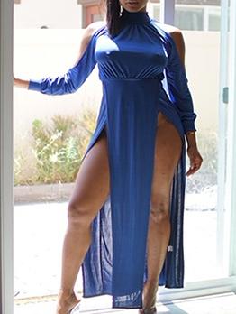 Off Shoulder High Split Hem Long Sleeve Maxi Dress