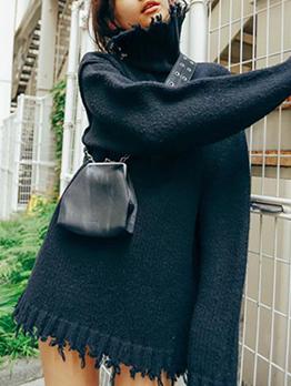 Tassel Hem High Neck Black Sweater