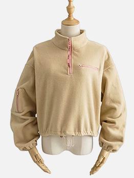 Lambswool Drawstring Stand Collar Sweatshirt