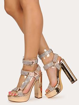 Tiny Rhinestone Platform Chunky Heels