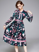 Bowknot Tie Neck Printed Long Sleeve Dress
