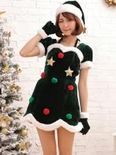Star And Hairball Decor Green Short Sleeve Christmas Dress