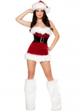 Plush Patchwork Red Strapless Short Dress For Christmas