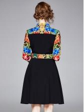 Turndown Collar Printed Patchwork Ladies Shirt Dress