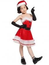 Gauze Patchwork Sleeveless Red Christmas Dress For Girls