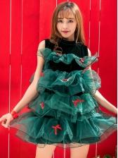 Gauze Patchwork Christmas Tree Dress For Women