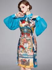 New Arrival Figure Pattern Lantern Long Sleeve Dress