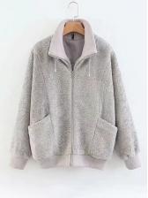 Lambswool Solid Pockets Winter Coats