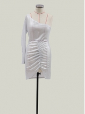 One Shoulder Silvery Cocktail Party Dress For Women