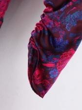 Slim Fit Ruffle Puff Long Sleeve Floral Dress