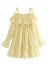 Off The Shoulder Slip Ruffled Hem Yellow Dress