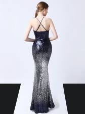 Cross Belt Backless Graduated Color Sequin Evening Dress