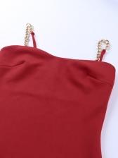 Fashion V Neck Chain Straps Sleeveless Mini Dress