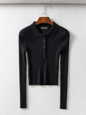 Pure Color Knit Ribbed Polo T Shirts