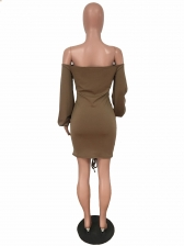Drawstring Solid Long Sleeve Bodycon Dress