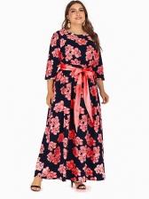 Bohemian Red Flower Pattern Cheap Maxi Dresses