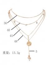 Elegant Multi-Layer Rhinestone Rose Pendant Necklace