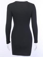 Deep V Neck Twist Black Long Sleeve Bodycon Dress