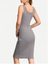 Euro U Neck Sleeveless Tie-Wrap Vest Dress