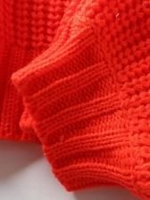 Solid Lantern Sleeve Short Sweater