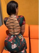 Back Crisscross Ruffed Hem Short Sleeve Summer Dresses