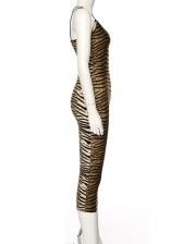 Fashion V Neck Leopard Print Sleeveless Bodycon Dress