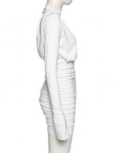 Smart Waist Draped Long Sleeve Bodycon Dress