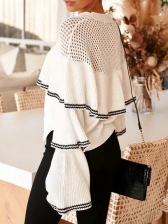 Patchwork Hollow Out Ruffled Sweater